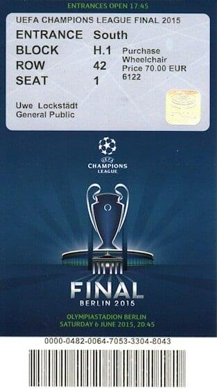 Eintritskarte Championsleaguefinale Berlin 2015